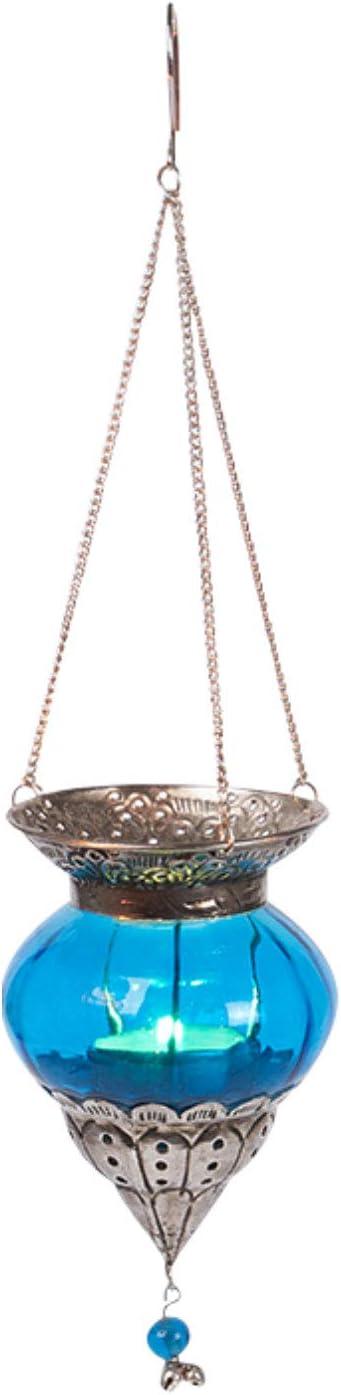 Portavelas de cristal oriental con asa de estilo oriental Faroles marroqu/íes colgantes Juego de 4 piezas Farol de vidrio oriental colgante de cristal Bara colorido de 15 cm