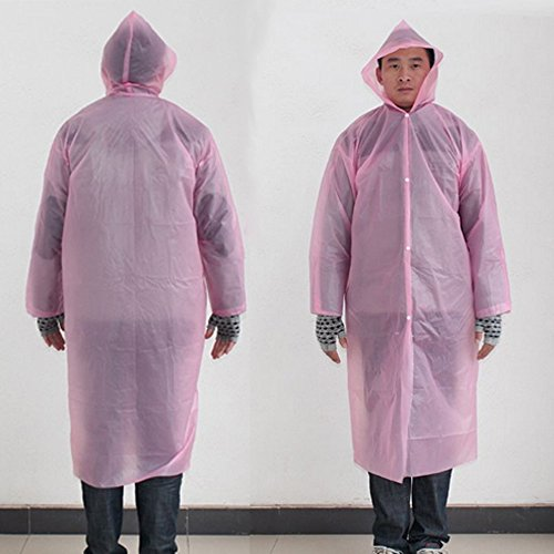 Ezyoutdoor 10 pieces Outwear Rain Coat Cartoon Hooded Waterproof Raincoat Unisex Rain Poncho for Adult Travel Camping Walking (pink) (Ranger Floral Belt)
