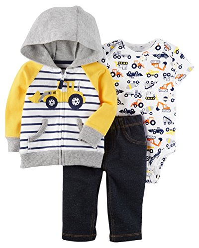 Terry Zip Pocket Pant (Carter's Baby Boys' 3 Piece Little Jacket Set 9 Months, Blue/Yellow Truck)
