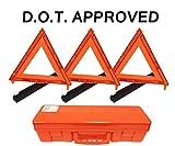 3-Pack Big Rig Emergency Roadside Warning Triangle Reflector (D.O.T. Approved)