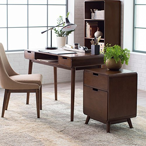 Brown Vintage Wood Writing Desk | Perfect Stylish Mid Century Home Office or College Student Dorm Table for Your Computer, PC, Laptop, Monitor, Books and Supplies by Gramercy Home (Image #6)