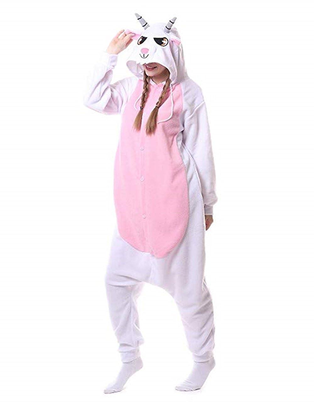 Halloween Cosplay Goat Onesie Costume Animal Pajamas for Adult Teens Sleepwear