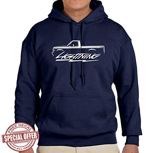 (1993-95 Ford SVT Lightning F150 Truck Classic Outline Design Hoodie Sweatshirt medium navy blue)