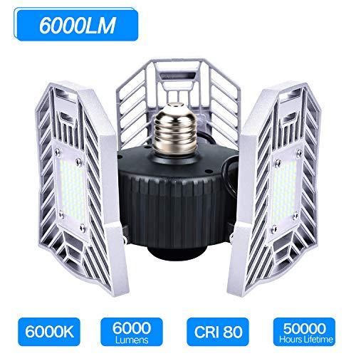 LED Garage Lights, 6000LM LED Garage Lighting E26/E27 60W Deformable LED Garage Ceiling Lights, 6000K Daylight LED Shop Lights for Garage, Basement, Workshop