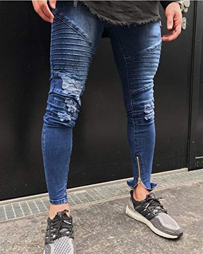 Uomo In Elasticizzati Denim Da Plissettati Biker Jeans Fit Giovane Distrutti Blau Skinny Pantaloni Slim thCBsdrxQ