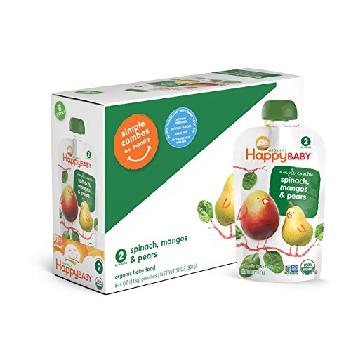 Happy Baby Organic Stage 2 Baby Food, Simple Combos, Spinach Mango & Pear, 4 Ounce, 8 count (Pack of (Baby Spinach)