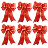 Red Glitter Christmas Tree Ornaments Ribbon Bows for Home Christmas Tree Wreaths Decorations, 6ct