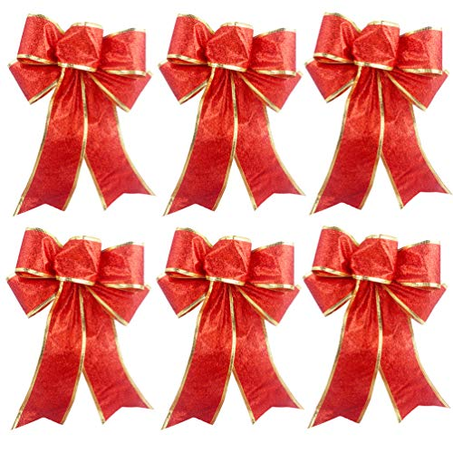 Red Glitter Christmas Tree Ornaments Ribbon Bows for Home Christmas Tree Wreaths Decorations, 6ct from Beurio