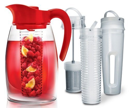 Primula Flavor-It Beverage System – Includes Fruit Infusion Core, Tea Infusion Core, and Chill Core – Dishwasher Safe – 2.9 Qt. – Red (Dish Glass Leaf)