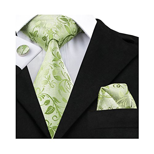 Plaid Silk Necktie (Hi-Tie Mens Spring Green Silk Tie Hanky Cufflinks set)