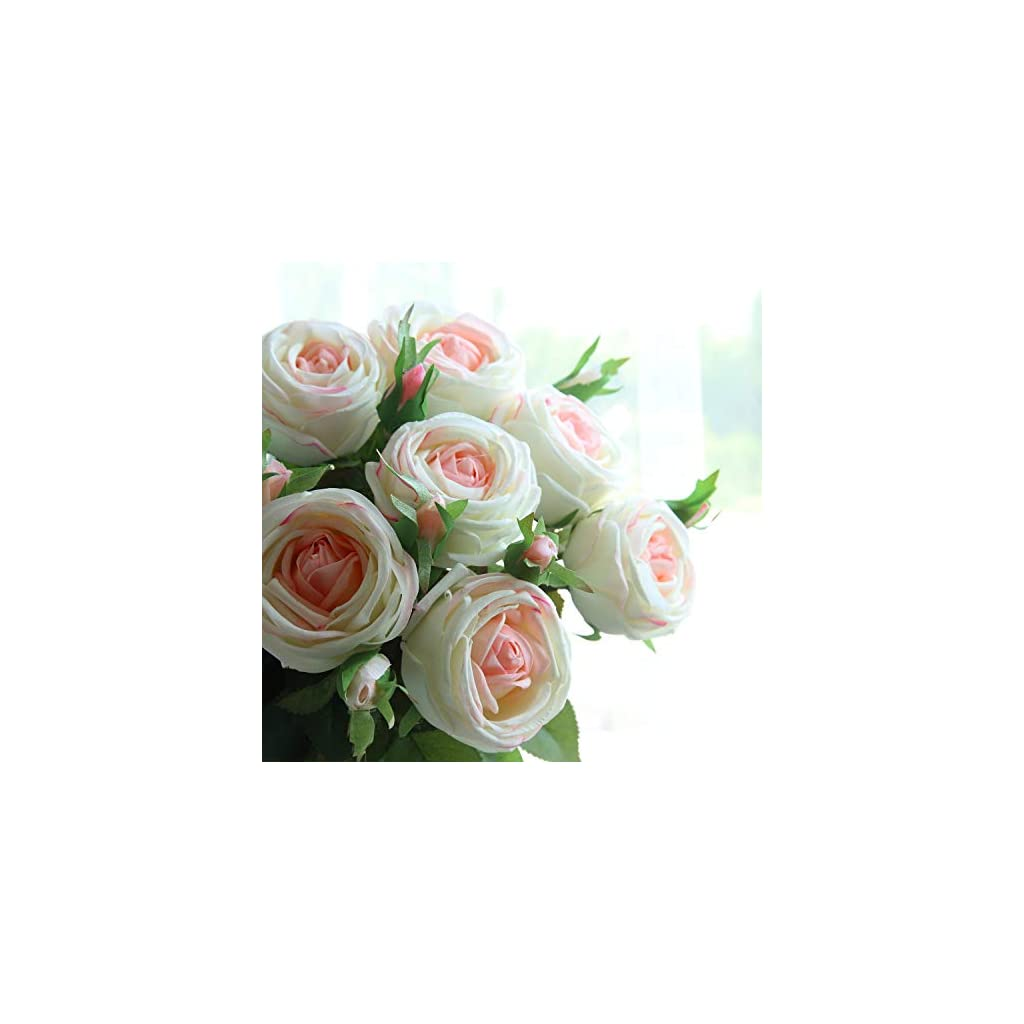 "cn-Knight Artificial Flower 6pcs 28"" Long Stem Artificial Rose with Gel Coated Silk Flower and Bud for Home Décor Wedding Bridal Bouquet Bridesmaid Centerpiece Office Baby Shower (Pinkish White)"