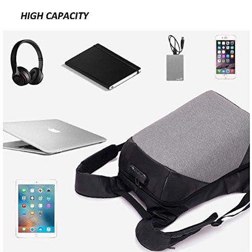 PET Business Laptop Rucksack Mit USB-Ladeanschluss Wasserdichte Reise-Diebstahl-Daypack College-Tasche Für Männer Und Frauen (31X18x45cm) Black