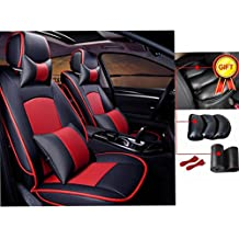 FLY5D Car Seat Cover Luxury PU Leather 5-Seats Front & Rear Cushion For Ford F-150 2010-2016 Easy to Clean Anti-Slip four Seasons General Auto Seat Cushions (Black/Red)