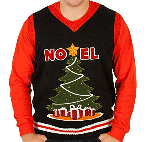 Ugly Lighted Christmas Tree Sweater Vest in Black (Medium)