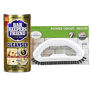 The Crown Choice Grout Cleaner + Bar Keepers Friend Cleanser Set - Best Product to Clean Shower Tile - Non Scratch and Safe for All Grout