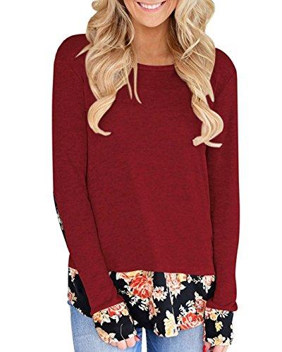 Aliex Women's Tunic Top Long Sleeve Casual T-Shirt Floral Sw