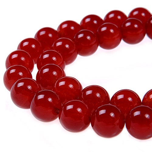 PLTbeads 8mm Red Carnelian Smooth Round Shape Natural Gemstone Loose Beads For 1 Strand per Bag Approxi 15.5 inch 48-50pcsJewelry ()