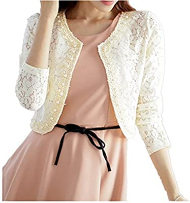 TOP OneWomen's Lace Shrug Bolero Cardigan Party Long Sleeve Floral