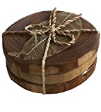 Natural Teak Round Coasters, Set of 3