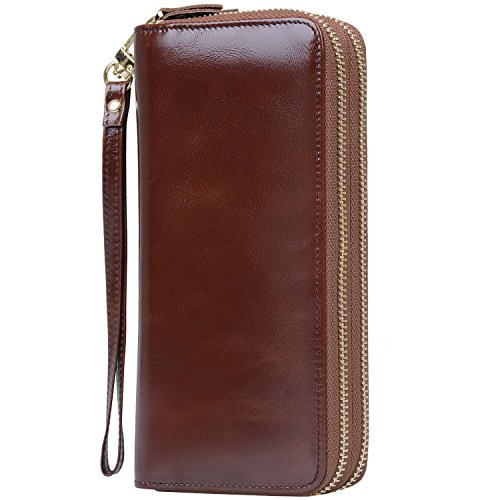 acity Leather Clutch Wallets for Women with Wrist Strap, WBXH050 (Coffee) (Double Zip Around Checkbook Wallet)