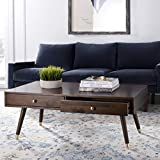 Contemporary Wood Coffee Table Safavieh FOX6304A Home Collection Gina Dark Oak and Black Contemporary Lift-Top Coffee Table, Brown