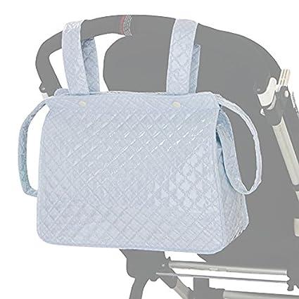 BOLSO AZUL CELESTE dibujo MOTITAS Talega/ Panera Maternal Carro Bebe. Incluye bolsillos interiores.