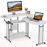 L-Shaped Computer Desk, LITTLE TREE Rotating Modern Corner Desk & Office Study Workstation, for Home Office or Living Room (White)