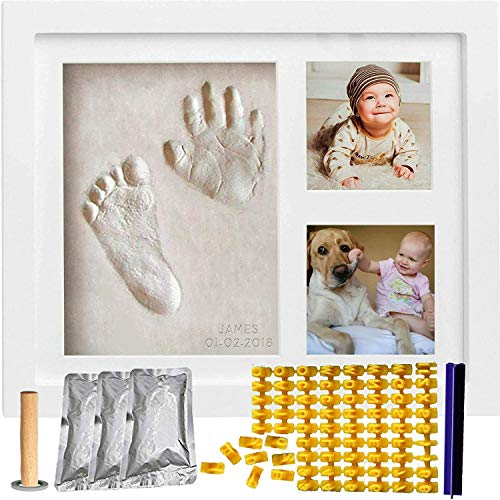 (Baby Handprint & Footprint Keepsake Photo Frame Kit for Newborn Girls and Boys, Wall/Table Wooden Frame + White Non-Toxic Clay+Alphabet Stamp.Perfect Registry, Baby Shower, New Mom, Birthday Gift!)