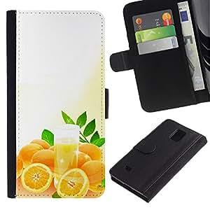 Billetera de Cuero Caso Titular de la tarjeta Carcasa Funda para Samsung Galaxy Note 4 SM-N910 / Fruit Macro Oranges / STRONG