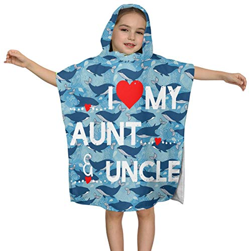 ABY14-YJ Infant Baby Girls Hooded Bath Towel I Love My Aunt and Uncle Soft Bath Poncho Towel for Age 2-7 Years Bathrobe for Bath 24x48 in