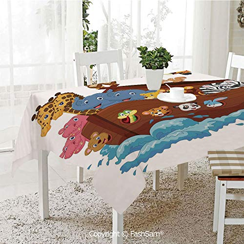 AmaUncle Party Decorations Tablecloth Noahs Ark Owl Pet Rabbit Mouse Old Testament Symbol Cheery Joyful Display Kitchen Rectangular Table Cover (W60 -