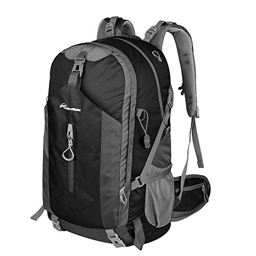 OutdoorMaster Hiking Backpack 50L - Weekend Pack w/ Waterproof Rain Cover & Laptop Compartment - for Camping, Travel, Hiking (Black/Grey)