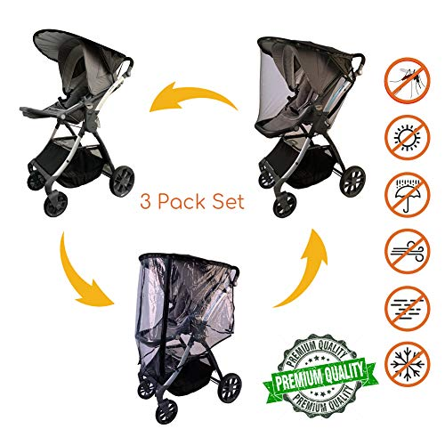 (Updated 2019 Version Baby Stroller Weather Shield with Rain Cover and Mosquito Net (2-Piece Set) Universal Size for Most of Strollers, Joggers, Prams, Travel Systems)