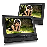 CUTRIP 10.1 Inch Dual Screen Portable DVD Player with Car Headrest Mount Brackets, 5 Hours Built-in Rechargeable Battery -Black