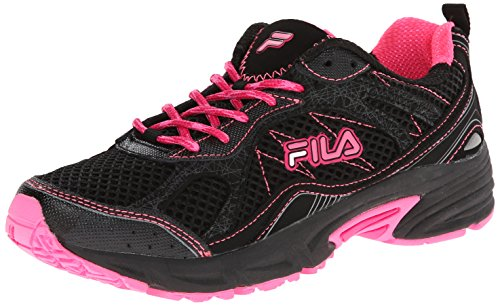 Sugar Pink Footwear (Fila Women's Overstitch 8 Running Shoe, Black/Sugar Plum/Pink Glo, 6 M US)