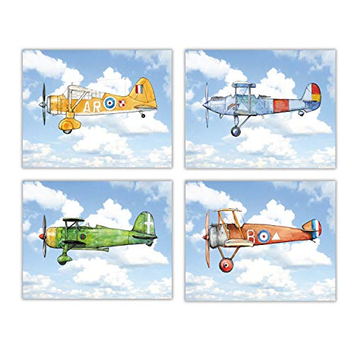Vintage Airplane Flying Blue Sky Boy Nursery Decor Set 4 prints 8x10