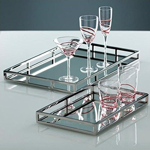 Le'raze Beautiful Mirrored Tray with Chrome Rails, Elegant Square Vanity Mirror Tray with with Side Bars, Makes A Great Bling Gift by Le'raze (Image #7)