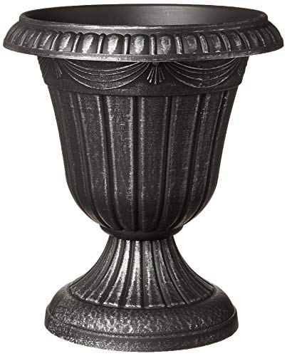 (Arcadia Garden Products PL20SL Classic Traditional Plastic Urn Planter Indoor/Outdoor, 10 x 12 inches, Brushed Silver)