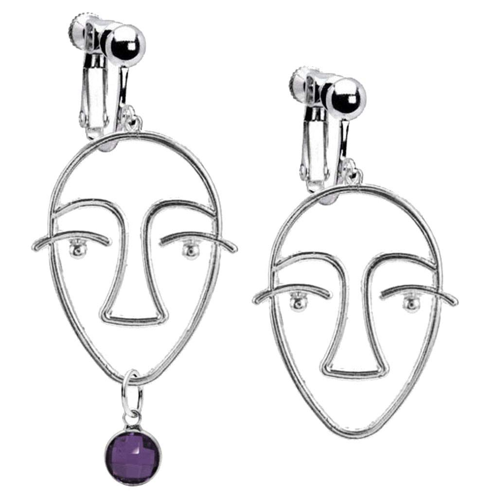 Abstract Beauty Girl Face Emoji Clip on Earrings Crystal February Birthstone Asymmetric Drop