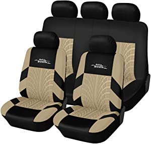 AUTOYOUTH Car Seat Covers Universal Fit Full Set Car Seat Protectors Tire Tracks Car Seat Accessories - 9PCS,Beige