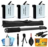 3 Pack AHDBT401 AHDBT-401 Battery + Selfie Monopod Pole Portrait Stick + HDMI Micro Cable + Dust Removal Cleaning Kit for Digital Photos for GoPro HERO4 Hero 4 Black Silver