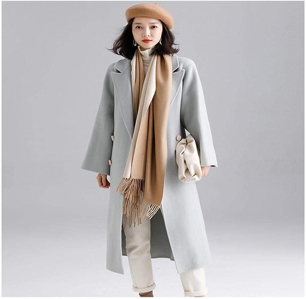 WDAYI Ceinture Longue Femme Automne et Hiver avec Manteau Coupe-Vent Népal Double Face Laine Manteau Laine,Fille,Manteaux Femme Bleu