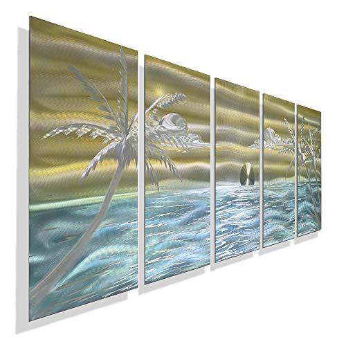 Extra Large Gold, Aqua, Silver Abstract Palm Tree Metal Wall Art - Island-Style Ocean Contemporary Beach Décor - Castaway Again XL by Jon Allen