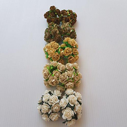 DOWDEGDEE 100 pcs Handmade Mulberry Paper Rose Flower 1.5 cm Craft Scrapbooking Scrapbook Bow Wedding Doll House Supplies Card 5 Colors Mixed Light Brown Tone