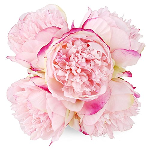 ADolinGo Peony Bouquet 5 Heads Milk White SOLEDI Artificial Fake Flower Bunch Bouquet Bridal Bouquet Wedding Living Room Table Home Garden Decoration (Deep Pink)