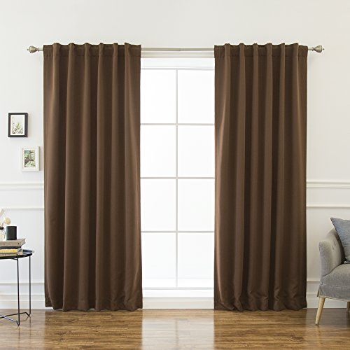 """Best Home Fashion Thermal Insulated Blackout Curtains - Back Tab/ Rod Pocket - Chocolate - 52""""W x 120""""L - (Set of 2 Panels)"""