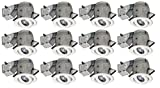 Nadair 4in LED Recessed Lighting Kit (x12) Swivel Spotlight Dimmable Downlight - IC Rated - 3000K Warm White GU10 550 Lumens Bulbs (50 Watts Equivalent) Included, 12-Pack White Color