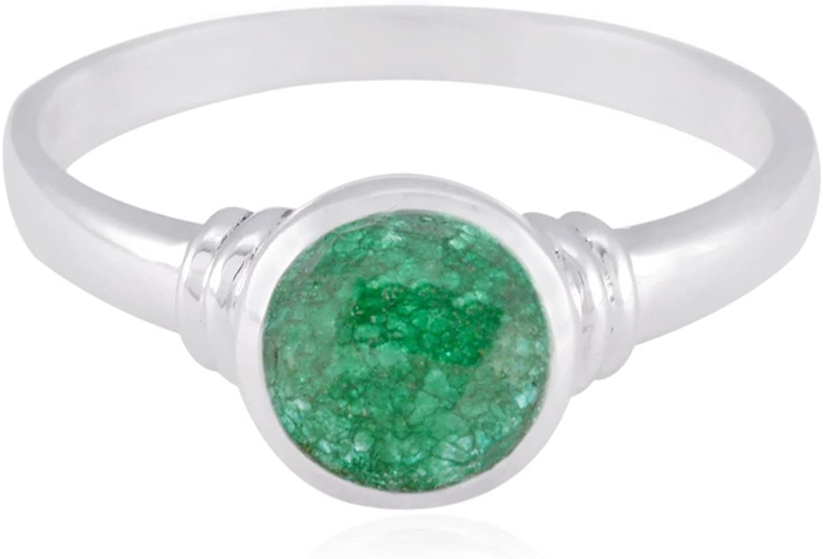 Jewelry Great Selling Items Gift for Good Friday Phases of The Moon Natural Gemstone Round Faceted Indianemerald Ring Sterling Silver Green Indianemerald Natural Gemstone Ring