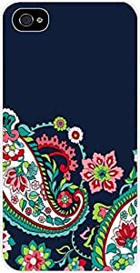 Paisley and Floral Pattern - Case for the Apple Iphone 4-4s Universal- Hard White Plastic
