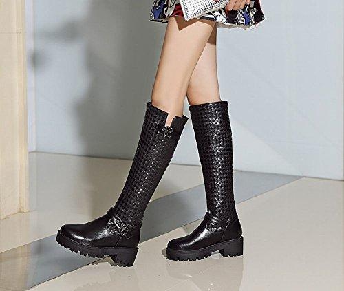 Charm Foot Womens Comfort Buckle Platform Chunky Knee High Boots Black jyK3pbZL